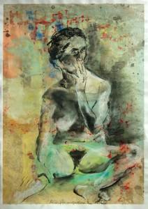 Sitzende-Hand-vor-dem-Mund-212x300 in weibliche Figur