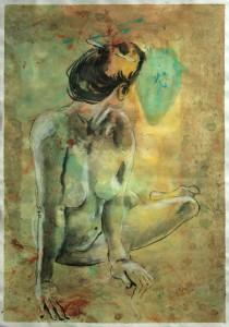 Sitzende-abgewandt-beide-Ha Nde-stu Tzen-210x300 in weibliche Figur
