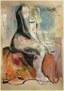 Sitzende-auf-orangem-Tuch-210x300 in weibliche Figur