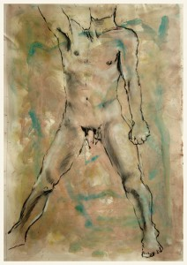 Breiter-Stand-ein-Arm-gehoben-212x300 in Männliche Figur